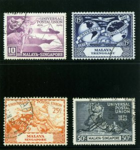 Singapore 1949 KGVI UPU set complete very fine used. SG 33-36. Sc 23-26.