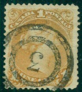 CANADA #23, 1¢ yellow orange, used w/#3 cancel, Scott $300.00