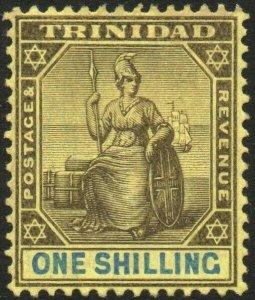 TRINIDAD-1904-09 1/- Black & Blue/Yellow Sg 141 MOUNTED MINT V48567