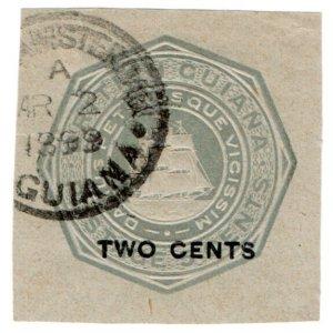 (I.B) British Guiana Postal : 2c on 5c OP (Newspaper Wrapper)