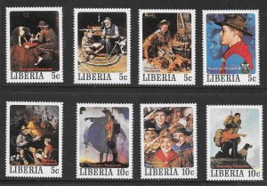 LIBERIA Sc#853-857a-j Norman Rockwell Scouting Complete Mint Never Hinged Set