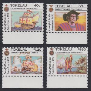 Tokelau 500th Anniversary of Discovery of America 4v bottom margins SG#193-196