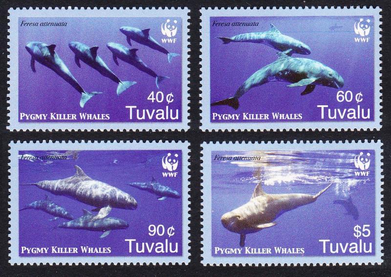Tuvalu MNH 1022a-d Pygmy Killer Whales WWF 2006
