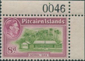 Pitcairn Islands 1940 SG6a 8d School corner imprint 0046 MNH