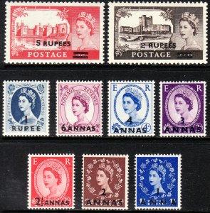 1955-57 Oman QE Portrait / Castle surcharge set MLH issue Sc# 56 / 64 CV $41.35