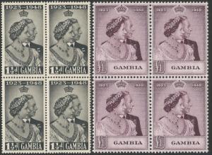 Gambia 1948 KGVI Silver Wedding set blocks of four fresh unmounted mint