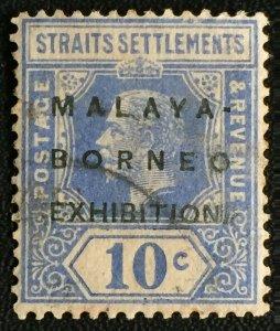 MALAYA MBE opt Straits Settlements KGV 10c MSCA USED SG#254 M2457