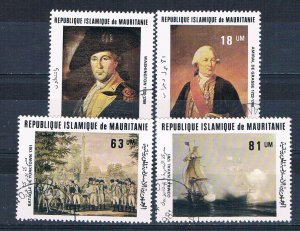 Mauritania 487-90 Used set Paintings American Revolution 1981 (M0336)