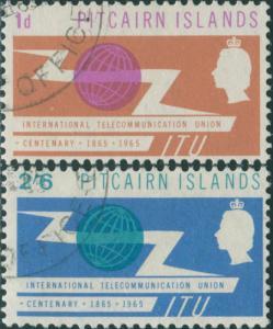 Pitcairn Islands 1965 SG49-50 ITU emblem set FU