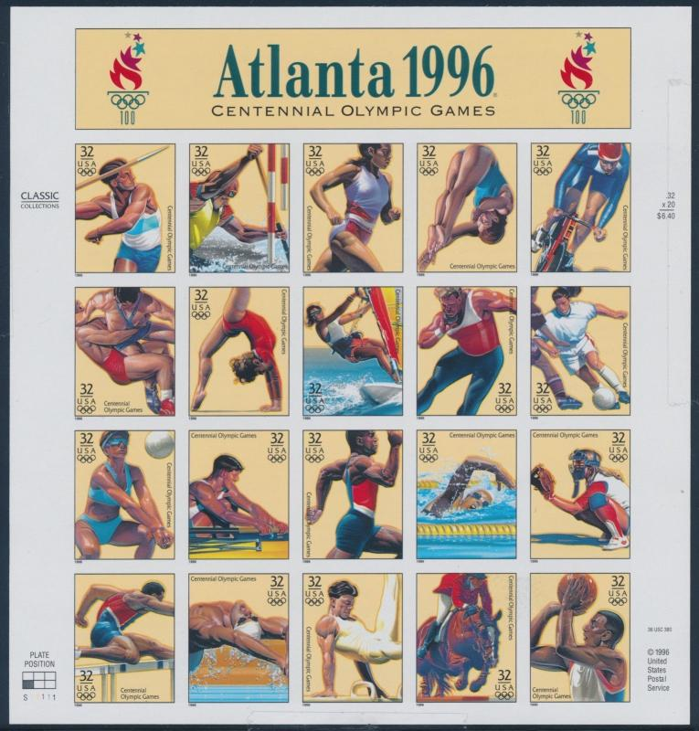 #3068u ATLANTA 1996 OLYMPICS IMPERF; PANE OF 20 MAJOR ERROR WL7005 RNA14