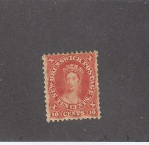 NEW BRUNSWICK  # 9 VF-MH 10cts QUEEN VICTORIA/FRONT FACE/VERMILION CAT VALUE $75