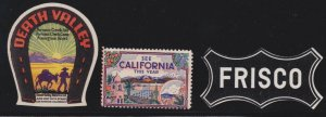 US Vintage 3 California Cinderella Stamps Death Valley-Frisco & See California