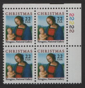 US, 2244, MNH, PLATE BLOCK, 1986, CHRISTMAS ISSUE