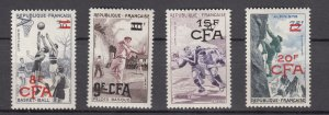 J27588 1956 french reunion set mh #318-21 ovpt,s sports