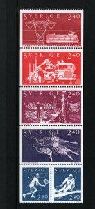 SWEDEN 1378-1383 Booklet Pane of 6, MNH, 1981 Conductor, Opera singer, Skier