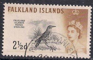 Falkland Islands 1960 - 66 QE2 2 1/2d Long Tailed Meadowlark SG 196 (  F823 )