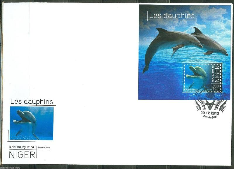 NIGER  2013 DOLPHINS  SOUVENIR SHEET FIRST DAY COVER