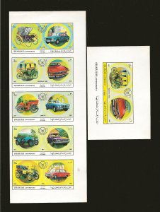 Sharjah 1969 Automobile Souvenir Sheets Imperforated Mint Hinged