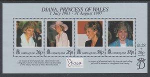 Gibraltar 754 Princess Diana Souvenir Sheet MNH VF
