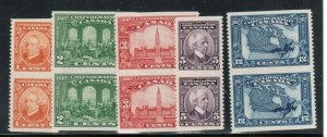 Canada #141c - #145c Very Fine Never Hinged Vertical Pairs Imperf Set