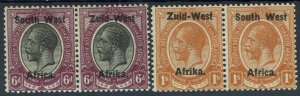 SOUTH WEST AFRICA 1923 KGV 6D AND 1/- PAIRS SETTING I
