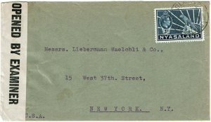 Nyasaland 1944 Blantyre cancel on cover to the U.S., censored