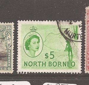 North Borneo QEII $5 Fishing SG 385 VFU (1auq)