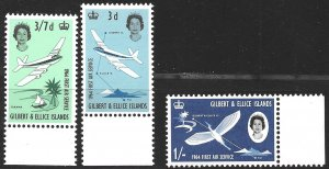 Gilbert & Ellice Islands Air Service set of 1964, Scott 79-81 MNH