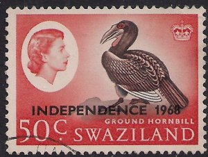 Swaziland 1968 QE2 50ct Ground Hornbill Independence Ovpt SG 156 ( L1493 )