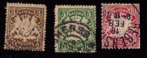 BAVARIA-Bayern-Scott #59-63 INCOMPLETE SET OF 3 USED Early German States F-V