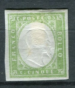 SARDINIA; 1855 early classic Imperf issue Mint unused Shade of 5c. value