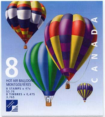 Canada USC #247a Pane of Eight 47c Hot Air Balloons in Complete Sealed Booklet