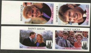 ST. LUCIA Sc#839-840 IMPERFORATE 1986 Royal Wedding Complete Set OG Mint NH