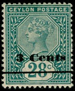CEYLON SG243, 3c on 28c slate, M MINT.