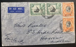 1936 Tanga Tanganyika British KUT Airmail Cover To Harrow England A