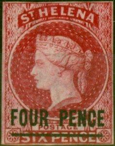St Helena 1863 4d Carmine SG5 Fine & Fresh Lightly Mtd Mint