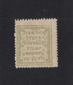 India (Sirmoor) Scott #9 MH Note