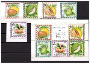 Montserrat 1999 Fruit Scott 984-88+988a  MNH set and s/s