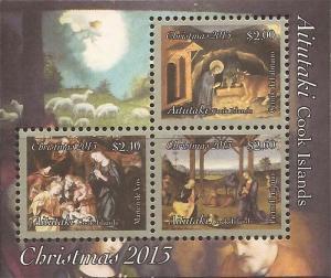 Aitutaki 2013 Christmas 3 Stamp Souvenir Sheet Scott #619 1M-032