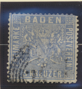 Baden (German State) Stamp Scott #12, Used, Thin Spot - Free U.S. Shipping, F...