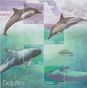 Micronesia - 2013 Dolphins - 4 Stamp Sheet - MIC1316