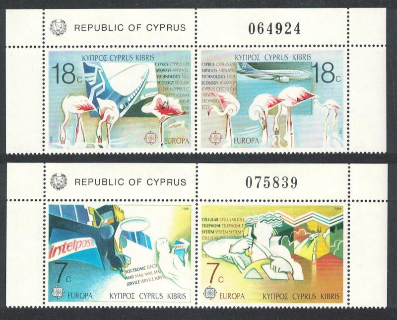 Cyprus Birds Flamingos Boeing Europa CEPT 4v Top pairs Control Number SG#718-721