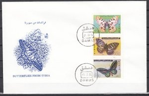 Syria, Scott cat. 1318 A-C. Butterflies issue. First day cover. ^