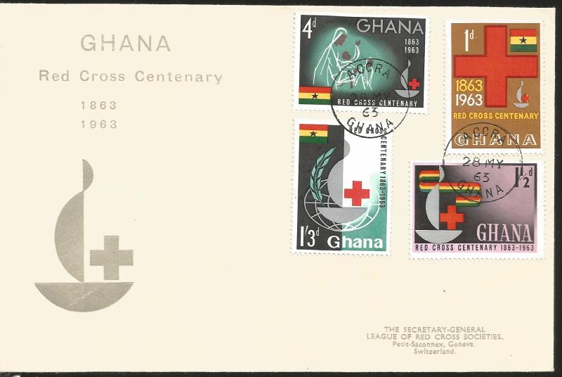 J) 1963 GHANA, RED CROSS CENTENARY, MULTIPLE STAMPS, FDC