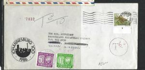 ZIMBABWE (PP1405B)  INCOMING FROM SA SHORT PAID POSTAGE DUE 1C+5C  1986