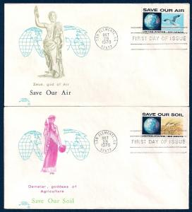 UNITED STATES FDCs (4) 6¢ Save Our Environment 1970 Colonial