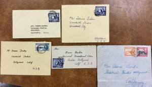 {BJ STAMPS} 5 1947 to 49 CYPRUS covers Fan mail  to Deanna Durbin George VI