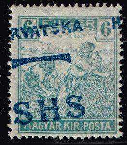 Croatia Overprinted SHS Hrvatska Stamp YUGOSLAVIA mh/og SHIFTED OVPT