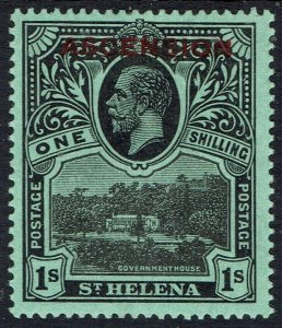 ASCENSION 1922 KGV ST HELENA OVERPRINTED 1/-