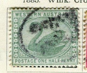 WESTERN AUSTRALIA; 1880s classic Swan Crown CA type fine used 1/2d. value